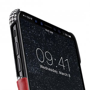 Holmes Series Tobacco Genuine Leather Snap Cover with Card slot Case for Apple iPhone X - (Red)
