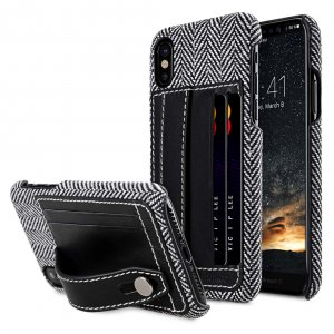 Holmes Series Venis Genuine Leather Dual Card slot with stand Cable for Apple iPhone X - (Black)