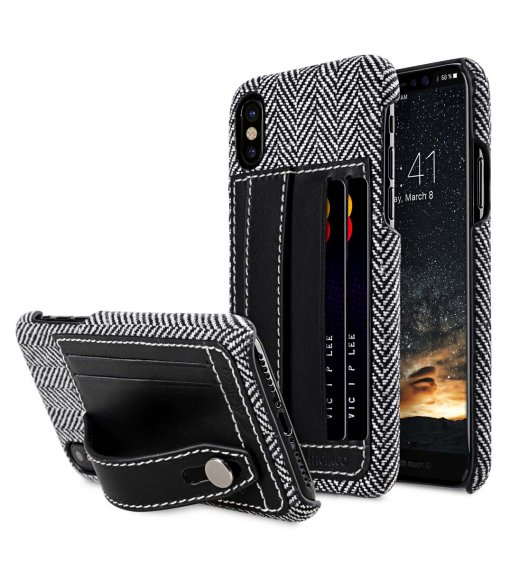 Holmes Series Venis Genuine Leather Dual Card slot with stand Cable for Apple iPhone X / XS