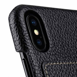 Premium Leather Card Slot Back Cover Case for Apple iPhone X - (Black LC)Ver.1