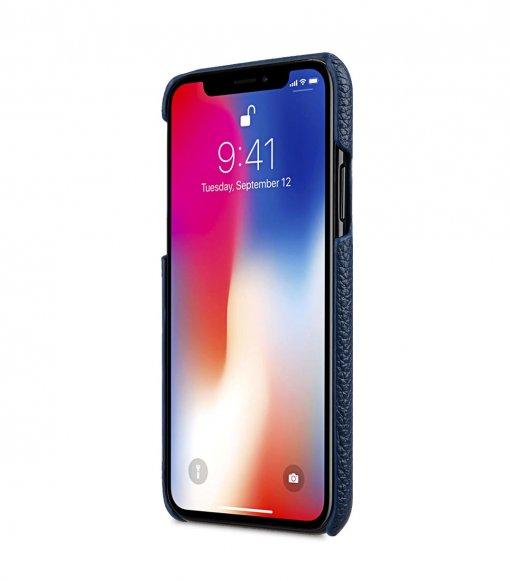 Premium Leather Card Slot Back Cover Case for Apple iPhone X - (Dark Blue LC)Ver.1