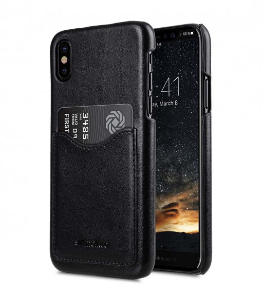 Mini PU Leather Card Slot Cover Case for Apple iPhone X / XS - (Black)Ver.2