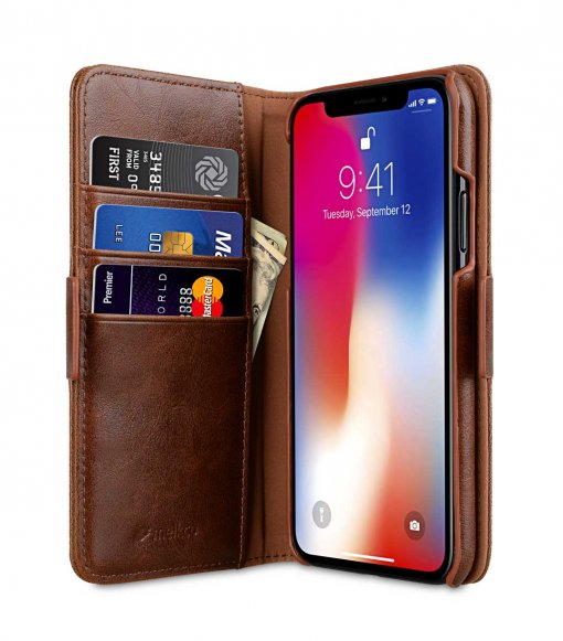 Melkco PU Leather Case for Apple iPhone X - Alphard Wallet Type (Brown CH PU)