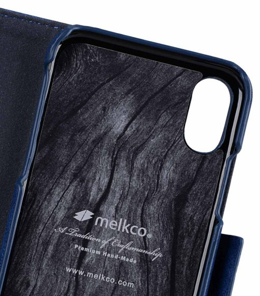 Melkco PU Leather Case for Apple iPhone X - Alphard Wallet Type (Dark Blue CH PU)