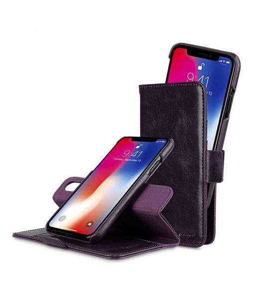 Melkco PU Leather Case for Apple iPhone X - Alphard Wallet Type (Purple CH PU)