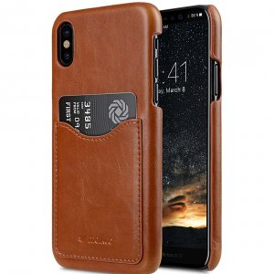 Mini PU Leather Card Slot Cover Case for Apple iPhone X - (Brown CH)Ver.2