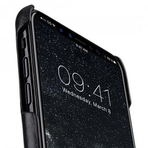 Premium Leather Card Slot Cover Case for Apple iPhone X - (Black WF)Ver.2