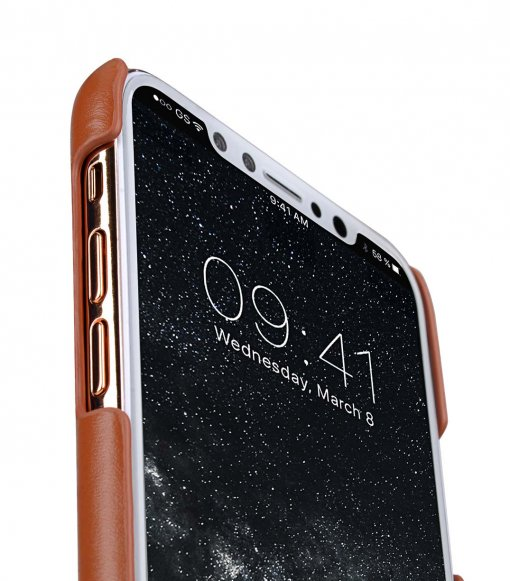 Premium Leather Card Slot Cover Case for Apple iPhone X - (Brown CH)Ver.2