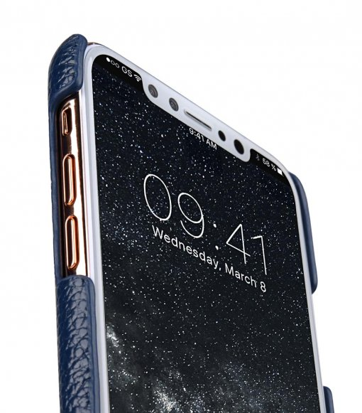 Premium Leather Card Slot Cover Case for Apple iPhone X - (Dark Blue LC)Ver.2