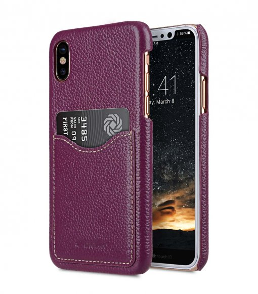 Premium Leather Card Slot Cover Case for Apple iPhone X - (Purple LC)Ver.2