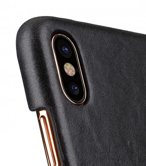 Premium Leather Card Slot Cover Case for Apple iPhone X - (Vintage Black CH)Ver.2