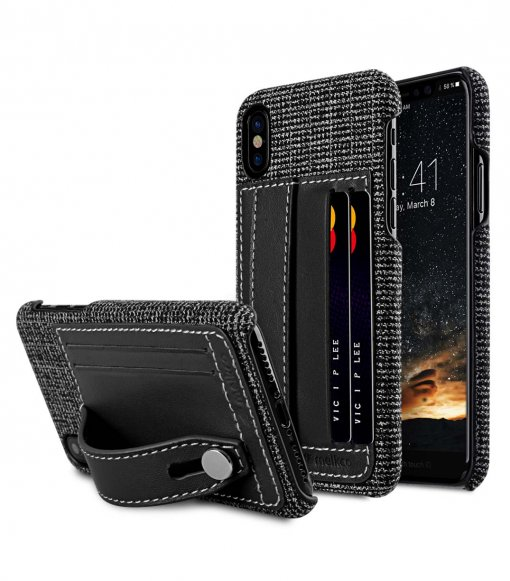 Holmes Series Fine Grid Genuine Leather Dual Card slot with stand Case for Apple iPhone X