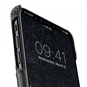 Holmes Series Fine Grid Genuine Leather Snap Cover with Card slot Case for Apple iPhone X - (Black)