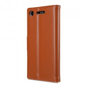 Melkco Premium Leather Case for Sony Xperia XZ1 - Wallet Book Clear Type Stand (Brown CH)