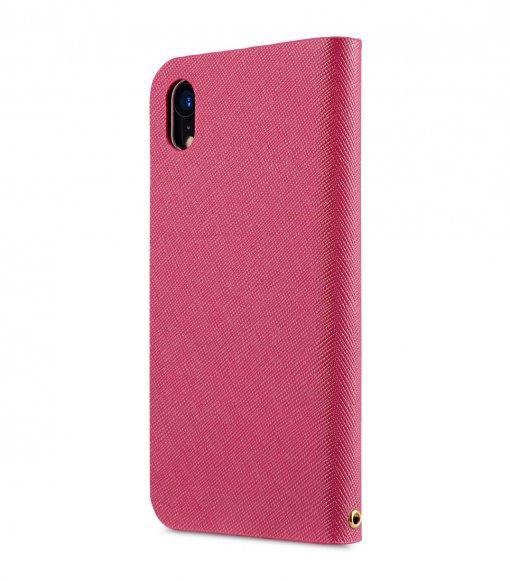 Melkco Fashion Cocktail Series Cross Pattern Premium Leather Slim Flip Type Case for Apple iPhone XR - (Peach CP)
