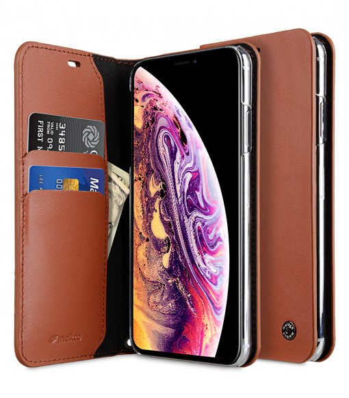Melkco Fashion Cocktail Series Premium Leather Slim Flip Type Case for Apple iPhone XS Max- ( Orange Brown )