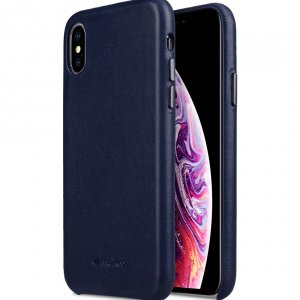 Melkco Origin Series Premium Sheep Leather Regal Snap Cover Case for Apple iPhone X / XS - ( Dark Blue )