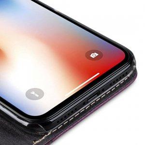 Melkco Premium Leather Case for Apple iPhone X - Wallet Plus Book Type (Purple LC)