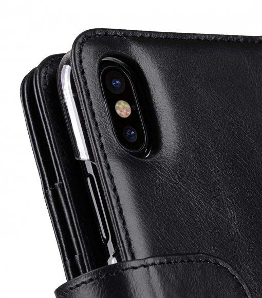 Premium Leather Case for Apple iPhone X - Wallet Plus Book Type(Black WF)