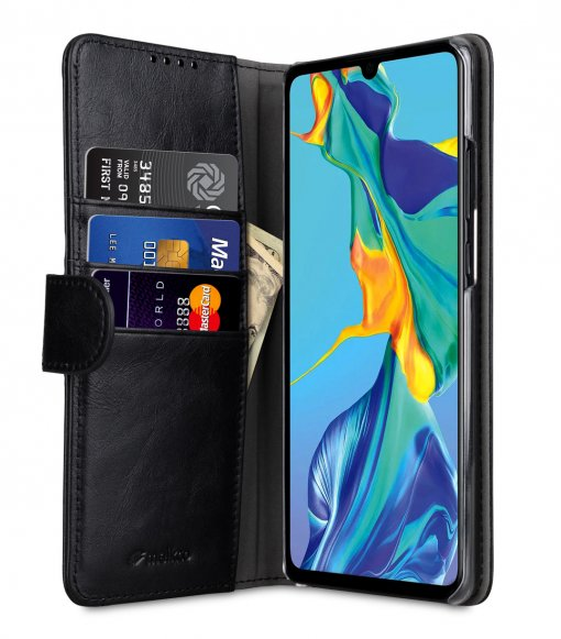 Melkco Wallet Book Series Premium Leather Wallet Book Clear Type Stand Case for Huawei P30 Pro - ( Black )