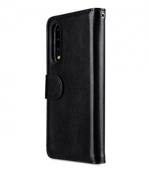 Melkco Wallet Book Series PU Leather Wallet Book Clear Type Case for Huawei P30 - ( Black )