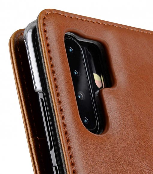 Melkco Wallet Book Series PU Leather Wallet Book Clear Type Case for Huawei P30 Pro - ( Brown )