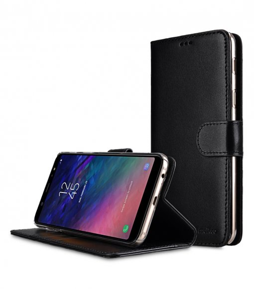 Premium Leather Case for Samsung Galaxy A6 Plus (2018) - Wallet Book Clear Type Stand