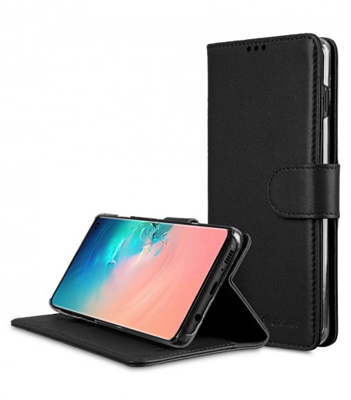 Premium Leather Wallet Book Clear Type Stand Case for Samsung Galaxy S10