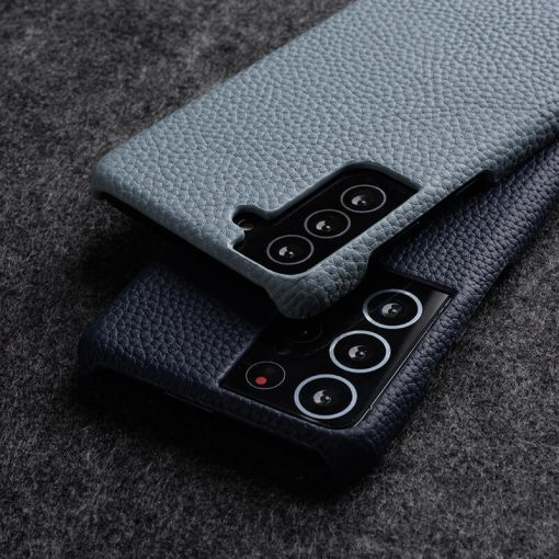 Back Snap Series Lai Chee Pattern Premium Leather Snap Cover Case for Samsung Galaxy S21+5