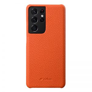 Back Snap Series Lai Chee Pattern Premium Leather Snap Cover Case for Samsung Galaxy S21 Ultra-1